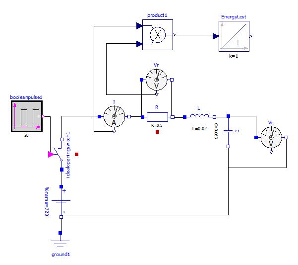 R C Time Constant Circuit Diagram: RLC Circuit, Resistor Power Loss